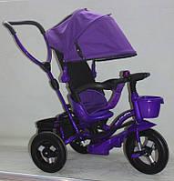 Велосипед 3-х колес AT0104 ФИОЛ 1шт надувные колеса 12 и 10,складной козырек,складная подножка