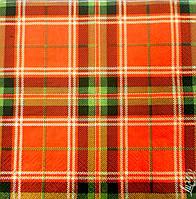 """Салфетка для декупажа """"Шотландка"""",фоновая, размер 33*33 см, трехслойная"""