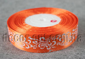 Лента атласная оранжевая с орнаментом 2,5 см 50 м 144#