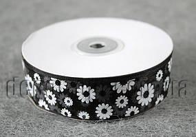 Лента органза черная с цветами 2,5 см 50ярд 39#