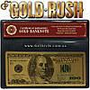 """Позолоченная банкнота 100 USD - """"Gold Rush"""" - сертификат!"""