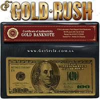 """Позолоченная банкнота 100 USD - """"Gold Rush"""" - сертификат! , фото 1"""