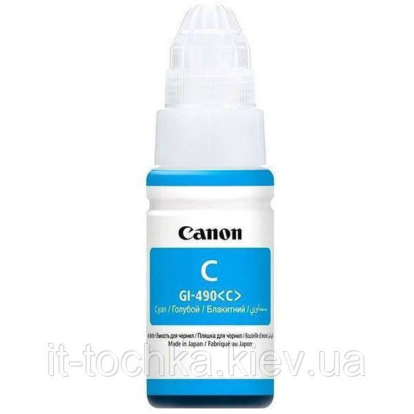 Голубые чернила canon gi-490 pixma g1400/g2400/g3400 cyan 70 мл (0664c001)