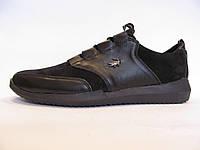 Мокасины мужские Lacoste  кожаные, черные (лакоста)(р.42,44,45)