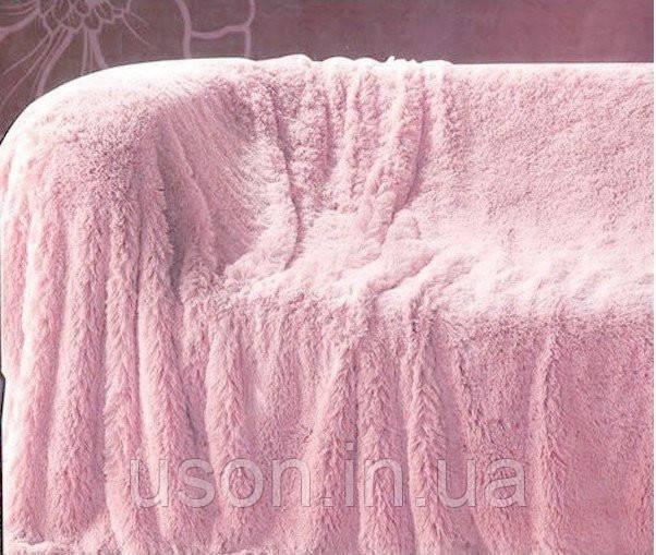 Из длинного ворса меховой плед розовый размер евро 220*240