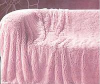 Из длинного ворса меховой плед розовый размер евро 220*240, фото 1