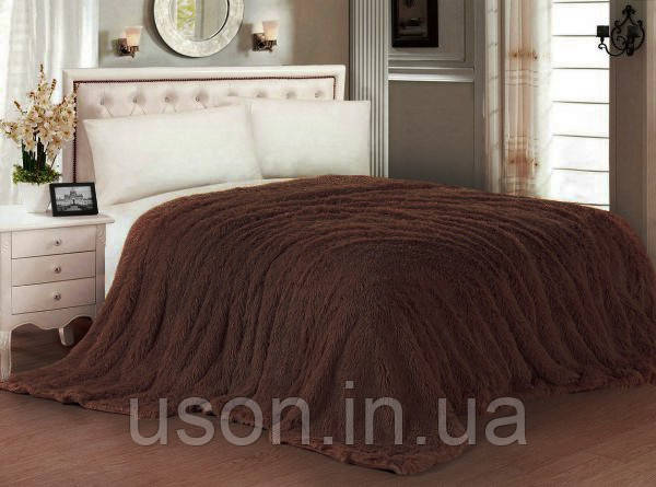 Плед меховой  теплый с длинного ворса шоколад размер евро 220*240