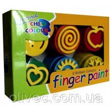 "Краски пальчиковые ""Leader"" 6 цветов, 180 мл."