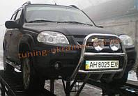 Защита переднего бампера кенгурятник высокий из нержавейки на Chevrolet Niva Bertone