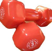 Гантель обрезиненная Power System 3 кг красная, резина