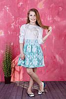 Модное детское платье с отрезной талией