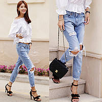 Модные, рваные, женские джинсы голубого цвета, фото 1