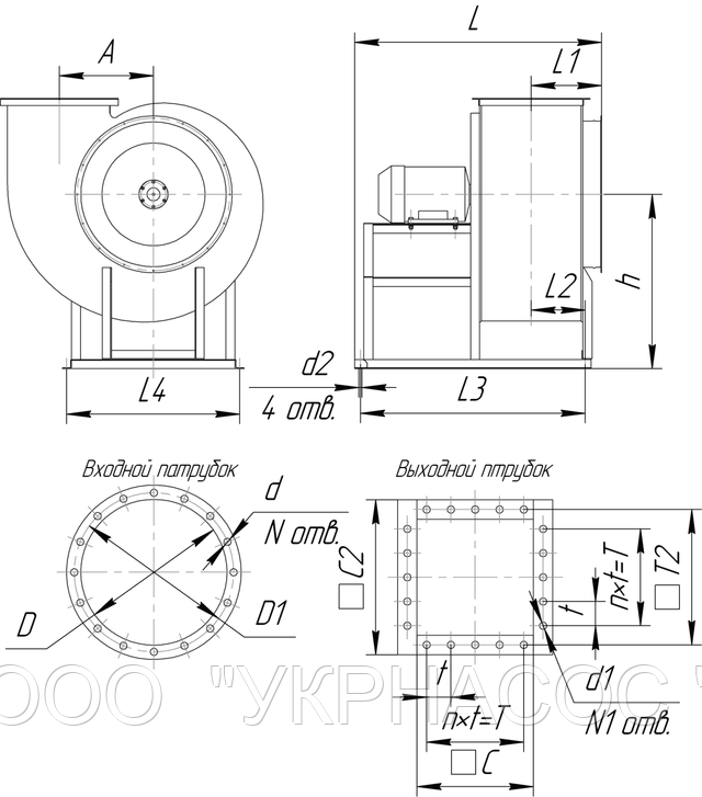 вентилятор ВЦ 4-75 № 5 электродвигатель 0,37 кВт 1000 об