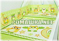 """Защита (ограждение, бортики, охранка, бампер) """"Сова"""" на всю кроватку из двух частей, 360х35 см Унисекс, Зеленый"""