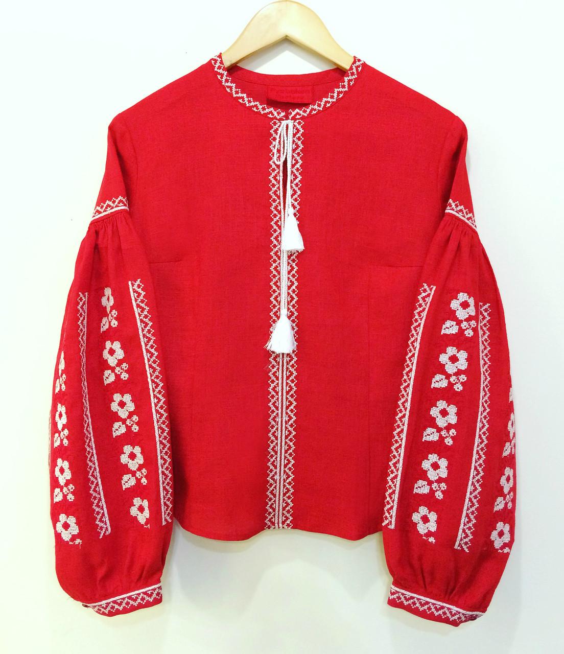 Вишиванка з пишними рукавами червоний льон квіти хрестик вишивка -  Ексклюзивні Вишиванки  0339c0ff7ca80
