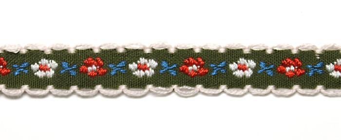 Лента тканная 1 см./3 цвета;зелёная основа