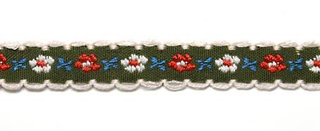 Лента тканная 1 см./3 цвета;зелёная основа, фото 2