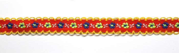 Лента тканная 1 см./2 цвета;красная основа.