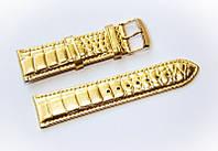 Ремешок кожаный Bros Cvcrro a Mano для наручных часов с классической застежкой, золотистый, 22 мм