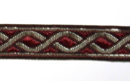 Лента тканная 1 см./2 цвета;красная основа., фото 2