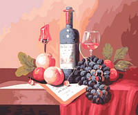 "Картина раскраска по номерам на холсте 40*50 см ""Натюрморт с вином"" Munglei"