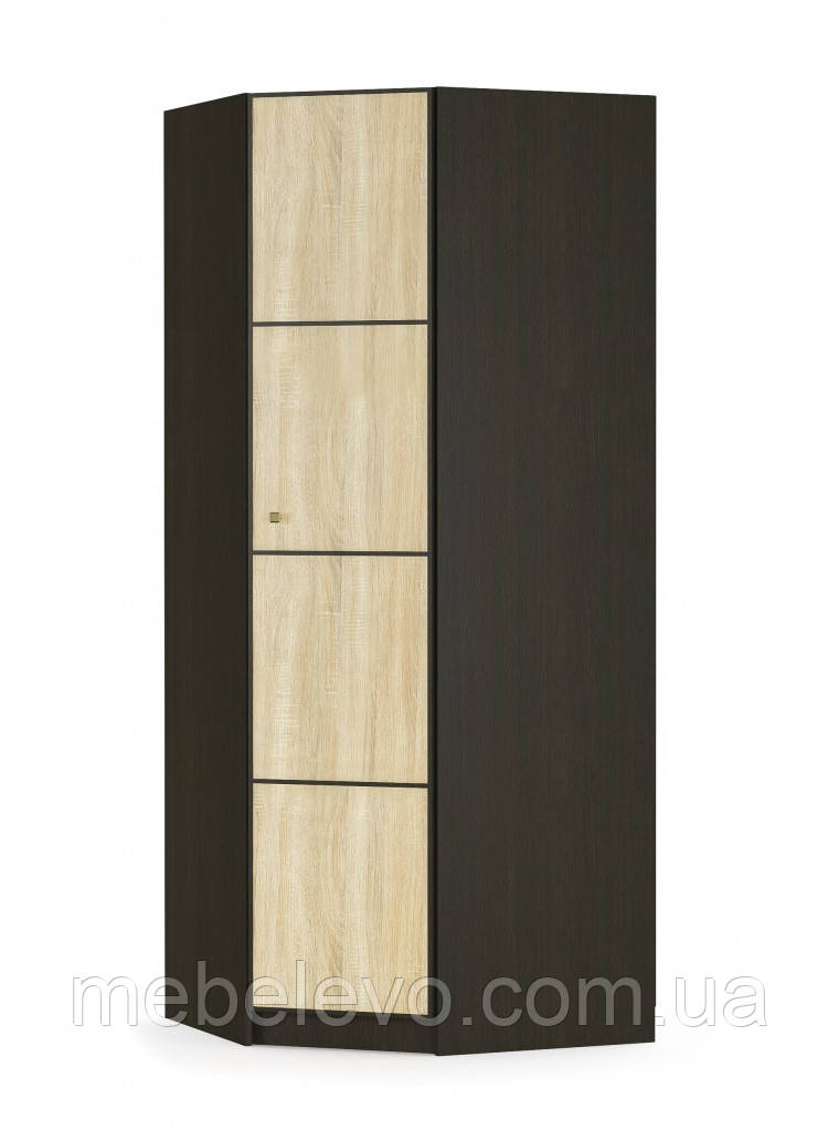 Шкаф Фантазия угловой 2160х875х875мм венге темный + дуб самоа   Мебель-Сервис