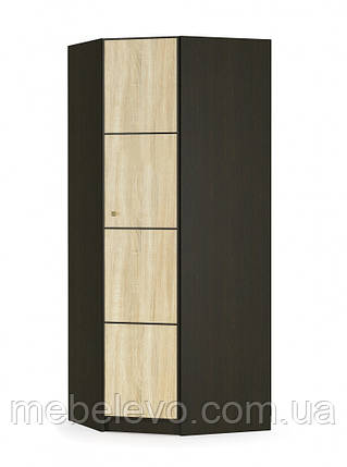 Шкаф Фантазия угловой 2160х875х875мм венге темный + дуб самоа   Мебель-Сервис, фото 2