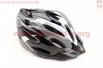 Шолом велосипедний L (54-62 см) чорно-сірий, знімний козирок, 20 вентиляційні отвори, системи регулювання