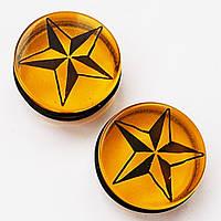 """Плаги 24 мм диаметр (материал - акрил) """"звезда"""" янтарный для пирсинга ушей."""
