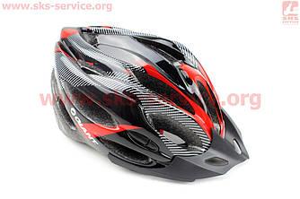 Шолом велосипедний L (54-62 см) чорно-червоний, знімний козирок, 21 вентиляційні отвори, системи регулировк