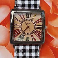 Женские наручные часы квадратные с браслетом (клетка темная), фото 1