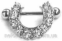 Серьга для пирсинга сосков из медицинской стали с камешками (горный хрусталь).