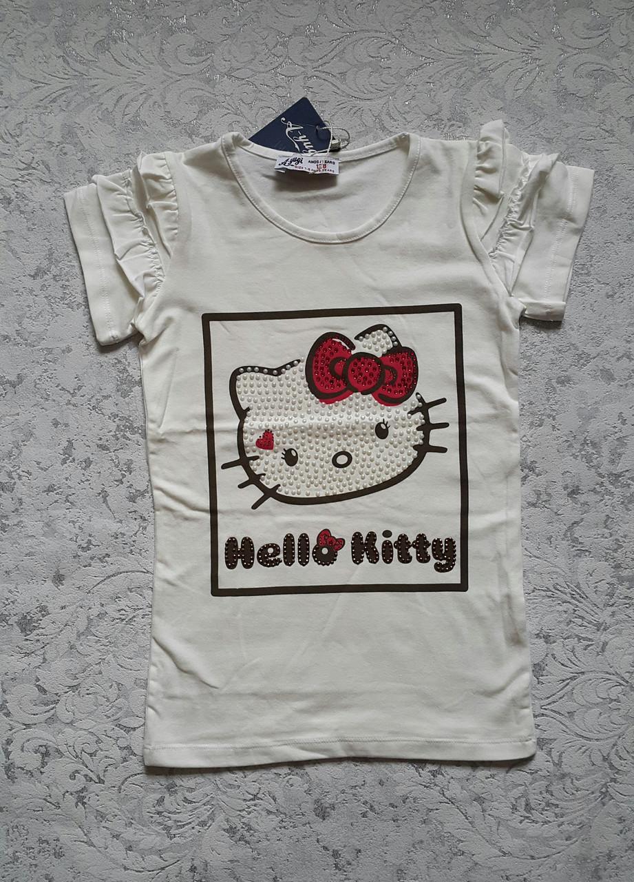 Красивая футболка на девочек 116,122,128,134,140 роста Hello Kitty