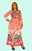 Длинное женское платье с красочным принтом