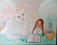 «Когда ангелы не спят - они пишут сказку...» картина маслом