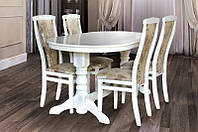 Стол обеденный раскладной Говерла-2 деревянный (бук) белый, слоновая кость, фото 1
