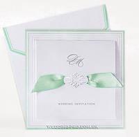 Элегантные свадебные пригласительные( бантик мятного цвета)
