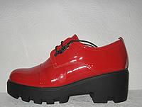 Туфли женские стильные лаковые на шнурках