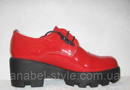 Туфли женские стильные лаковые на шнурках, фото 2