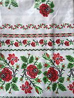 Белая лянная скатерть в цветочек