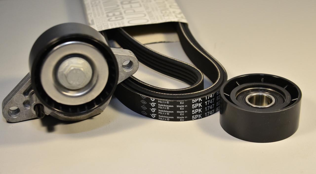 Комплект генератора + ролик + натягувач на Renault Kangoo 97->08 1.6 16V — Renault (Оригінал) - 7701477517