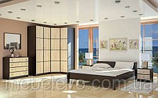 Кровать Фантазия 160 654х1724х2122мм венге темный + дуб самоа   Мебель-Сервис, фото 3