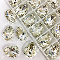 Cтразы в цапах, Капля, Размер 10x14, Цвет Crystal