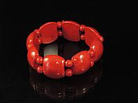 Браслет з червоного коралу на резинці, пластина з кульками, фото 1
