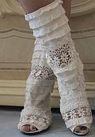 Белые летние тканевые сапожки со вставками макраме с открытым носком на плоской подошве