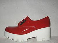 Туфли женские модные на тракторной подошве