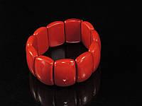 Браслет из красного коралла на резинке, прямоугольник, фото 1