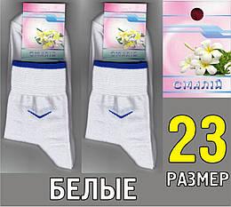 """Носки женские демисезонные ТМ """"Смалий"""", Украина 23 размер белые НЖД-0221"""