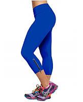 Лосины цветные для фитнеса укороченные со змейкой (леггинсы) L, Темно-голубой