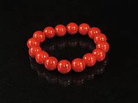 Браслет з червоного коралу на резинці, куля, фото 1